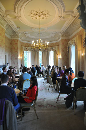 Mentors and students pictured at Law matching event in Headington Hill Hall